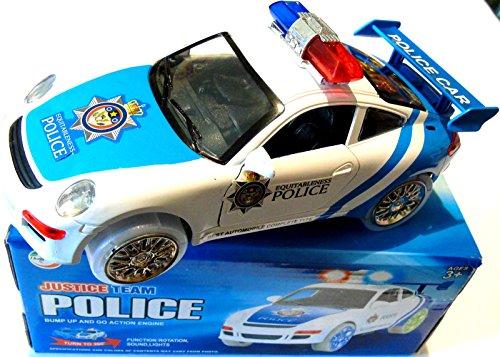 voiture t l command e voiture de police musicale et lumineuse 3d blanche et bleu france jeux. Black Bedroom Furniture Sets. Home Design Ideas