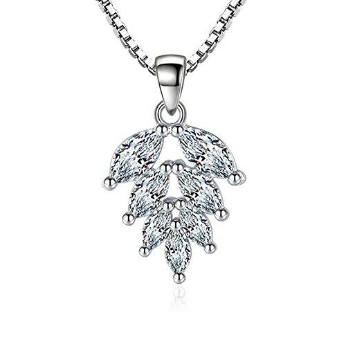 freessom femme collier pendentif feuille argent 925 diamante a la mode elegant original fin. Black Bedroom Furniture Sets. Home Design Ideas