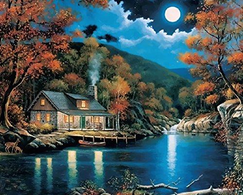 yeesam art nouvelles peinture au numero pour adulte enfants lune house lac moon lake maison de. Black Bedroom Furniture Sets. Home Design Ideas