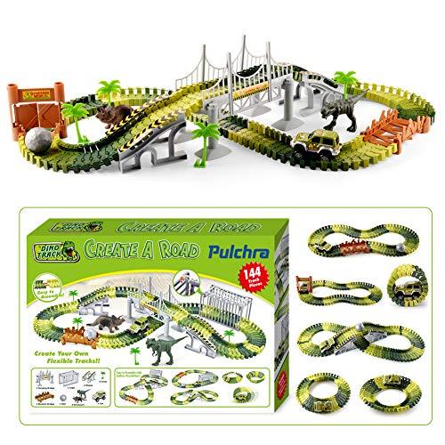 jeux de dinosaure pulchra set set de course de voiture 144pcs type combin et d tachable diy. Black Bedroom Furniture Sets. Home Design Ideas