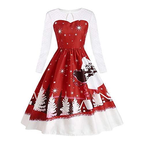 7f710d74a36 Robe Noël Femme♚Robemon Élégant Rêve de Neige Village O-Cou Christmas  Costume Swing Robe de Noël Dames Manches Longues Épaule Translucide Soirée  Piecing ...