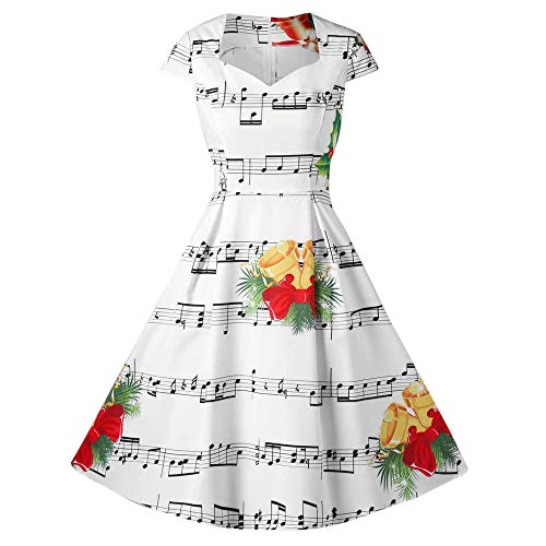 Robe Noël Femme♚Robemon Audrey Hepburn Style Mesdames Noël Bell Notes de  Musique Imprimer Manches Courtes Chemise Robe Casual Party Cocktail Soirée 87dc74e0f22