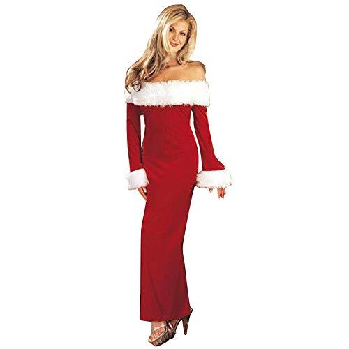 e53b3173cba Robe Noël Femme♚Robemon Xmas Robes Tunique Femmes Manches Longues Sexy  Exposés Épaule Velours Peluche Santa Style Costume Cocktail Soirée FêTe