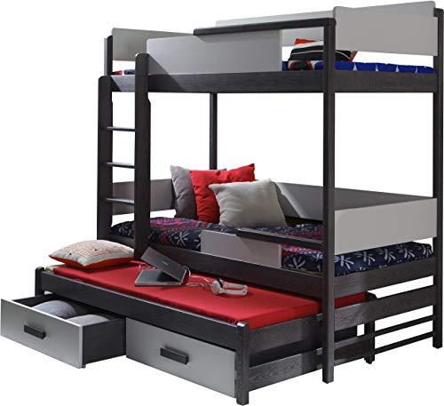 lit superpos triple pour enfants quatro en bois de pin massif naturel avec matelas et